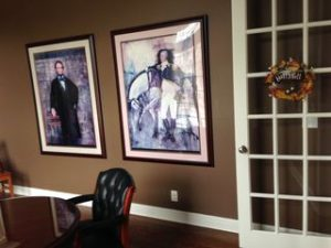 Portraits of two of my favorite men of all time: Abraham Lincoln and George Washington.